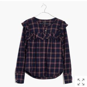 < Madewell > Free 🎁Plaid Ruffle shirt